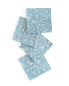 Ice blue wool felt coasters - Set of four drink coasters designed by Cotton & Flax