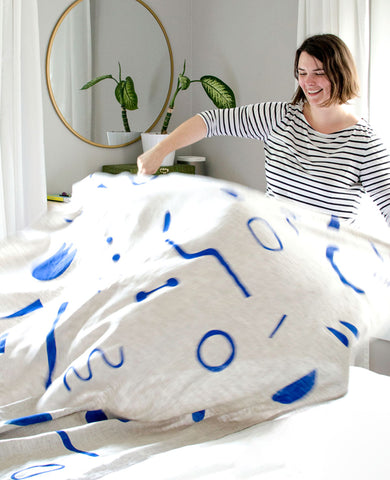 Stenciled Linen Throw Blanket Workshop