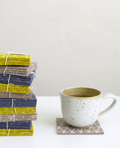 Patterned felt drink coasters