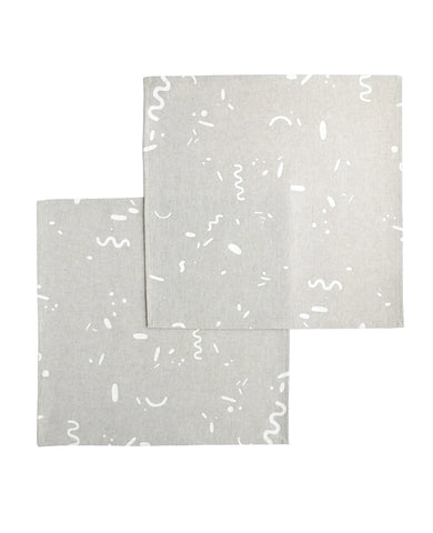 Linen cocktail napkins with a confetti squiggle pattern