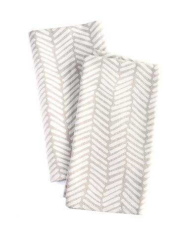 Herringbone linen napkins - cloth dinner napkins from Cotton & Flax