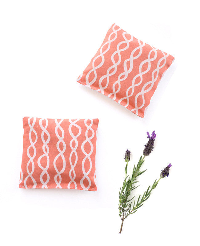 Lavender sachets - made with pastel orange patterned fabric
