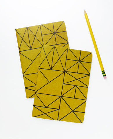 Two Gold Grid Recycled Notebooks with a pencil - 5 x 7 inches