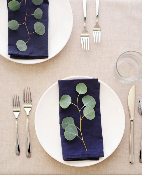 Navy Blue Napkins - Cotton & Flax