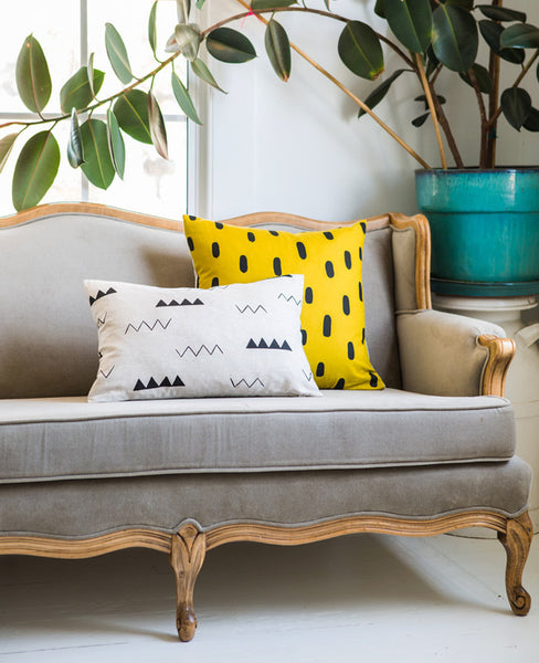 Patterned linen throw pillows