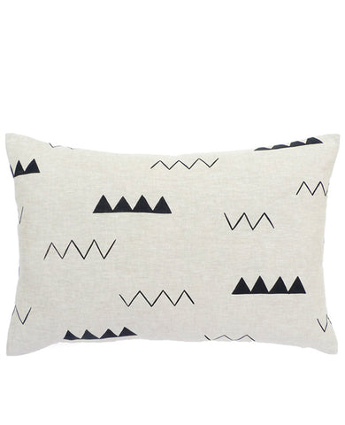Oblong Linen Zig Zag Pillow