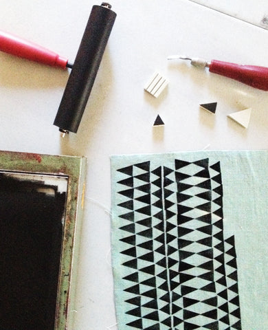 Block printing workshop in San Diego - learn to print on fabric with Erin Dollar