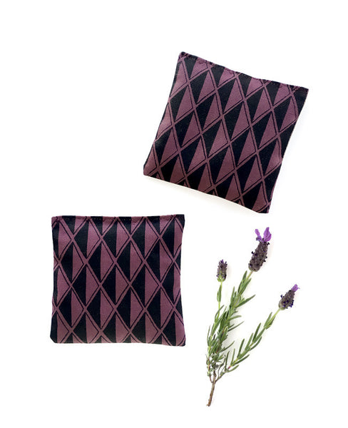 Lavender sachets - made from purple diamond patterned linen fabric from the Arroyo collection