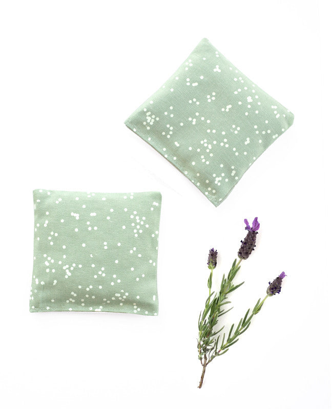 Lavender sachets - made with seafoam green patterned fabric