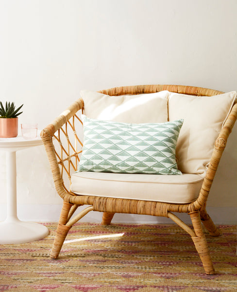 Mint diamonds oblong throw pillow - Cotton & Flax