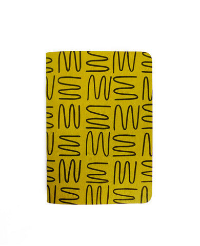 Gold squiggle pattern notebook with rounded corners — Cotton & Flax