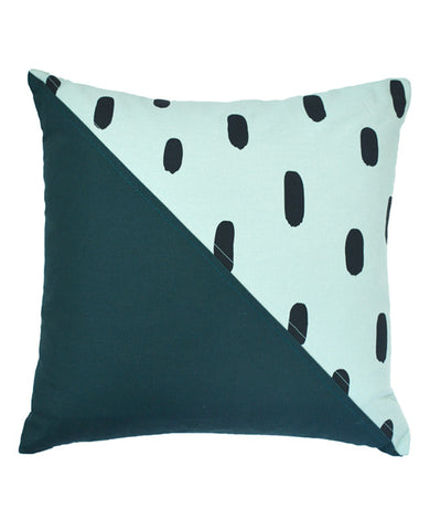 Soft Teal Brushstroke Patchwork Pillow