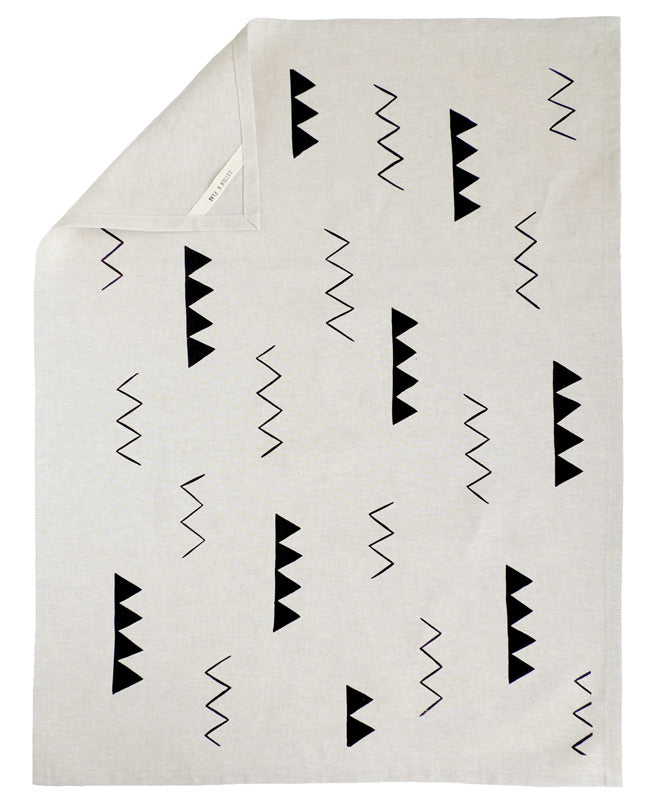 Zig Zag Linen Tea Towel - Cotton & Flax