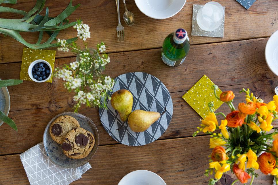 Hand-printed tabletop goods from Cotton & Flax