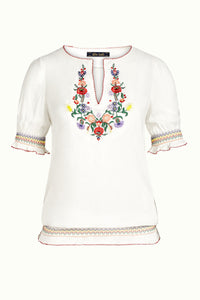 King Louie Lucy Embroidery Top Coyote