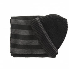 Load image into Gallery viewer, Scarve & beanie set black/grey