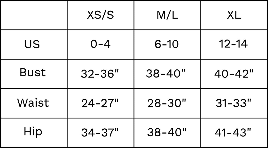 quilted size chart