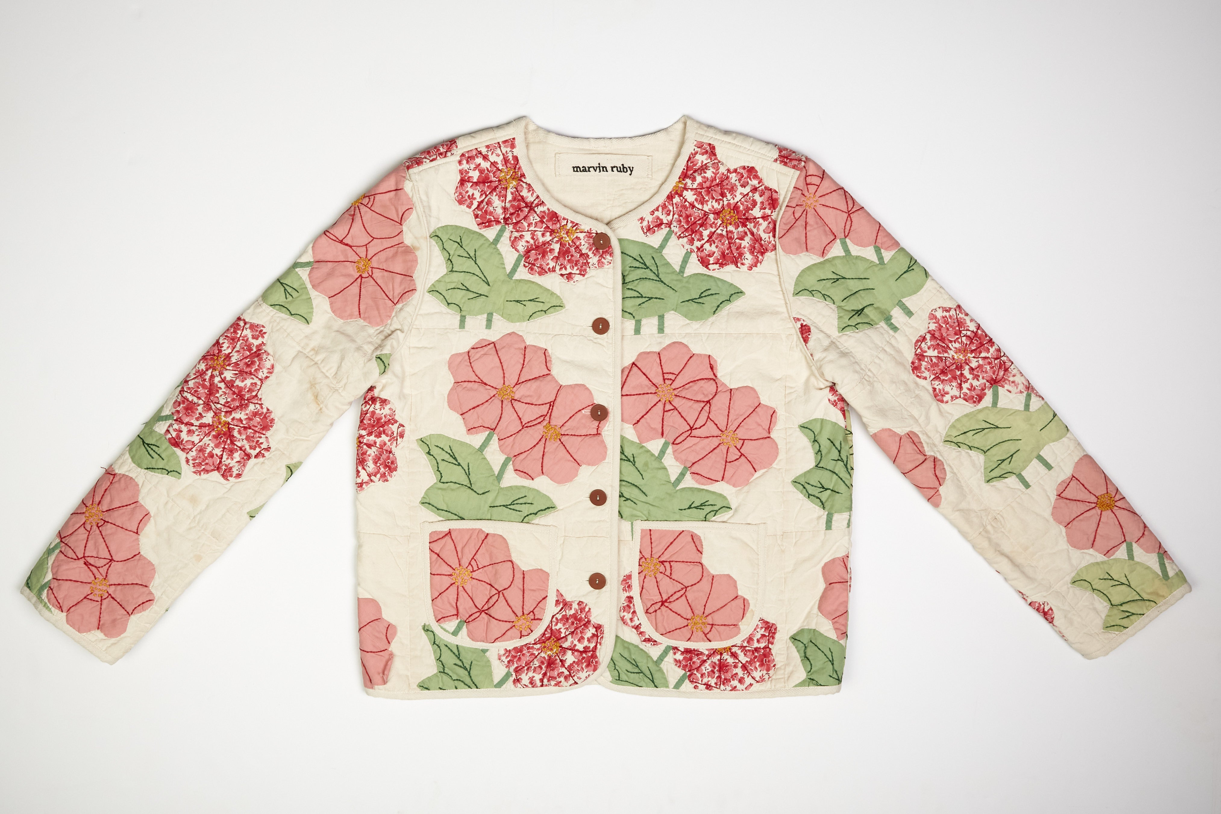 Appliqué Zinnia Quilted Jacket