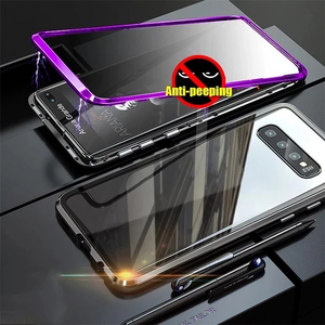 Anti-Peeping Privacy Magnetic Adsorption Two Side Tempered Glass Phone Case For Samsung S&Note Series
