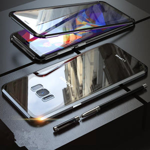 Magnetic Adsorption Transparent Tempered Glass Two side Glass Cover Phone Case For Samsung S8/S8 PLUS