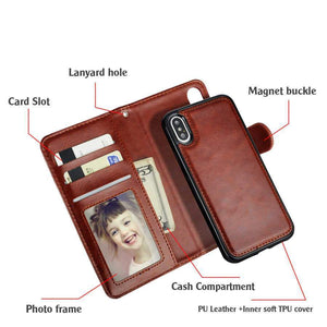 2-in-1 Genuine Leather Wallet Card Magnetic Detachable Phone Case For iPhone