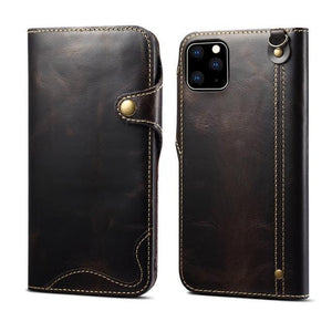 【Repairable oil wax cowhide】Genuine Leather Wallet Stand Protect Flip Case for iPhone