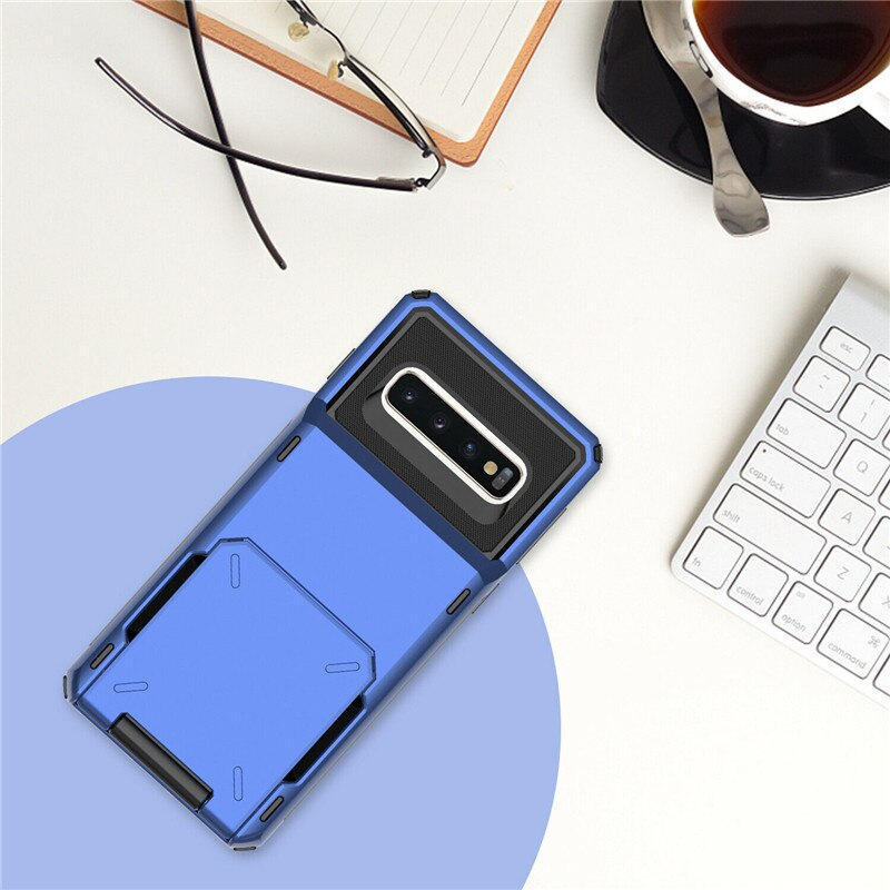 Four-Corner Anti-Fall Wallet Flip Card Phone Case For Samsung Series  A7 A8 A9 2018 A750 A9S