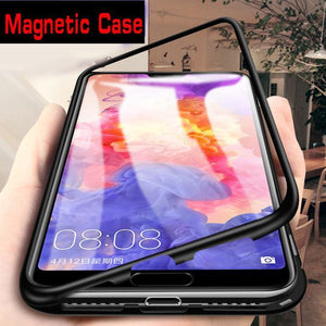 Original Magnetic Adsorption Transparent Double Side Tempered Glass Phone Case For iPhone 6 7 8Plus X