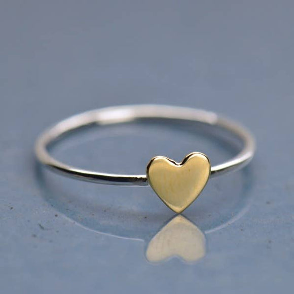 Sterling Silver Ring with Tiny Bronze Heart