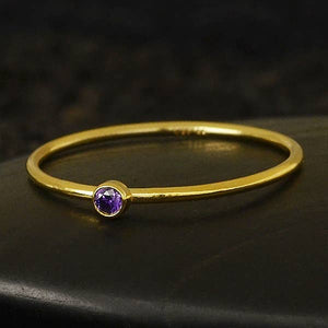 Gold Filled Ring with Amethyst CZ