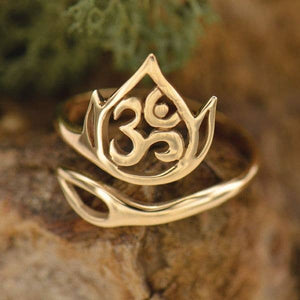 Openwork Lotus and Om Adjustable Ring