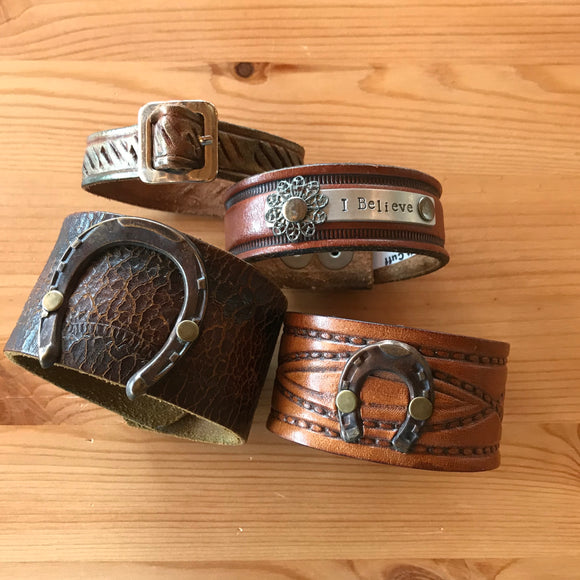 Bold Leather Cuff Bracelets