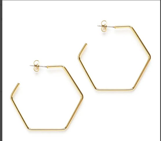Hexagon Hoop Studs