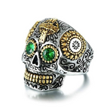Sugar Green Eye Skull Rings