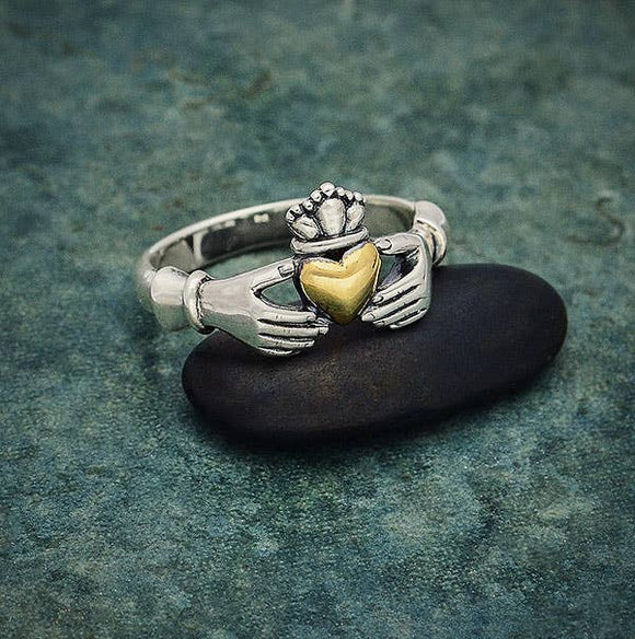 Claddagh Ring Sterling Silver with Bronze Heart