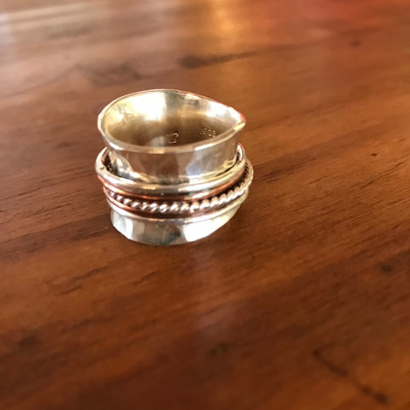 Hammered Silver Spinner Rings