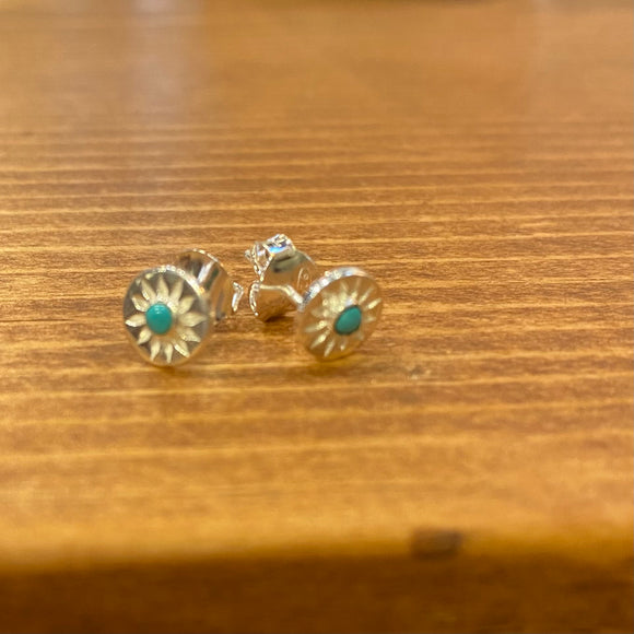 Tiny Sterling and Turquoise Post Earrings