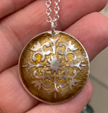 Mandala Silver Glass Enamel Necklace