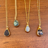 Teardrop Gold &  Gemstone Necklaces