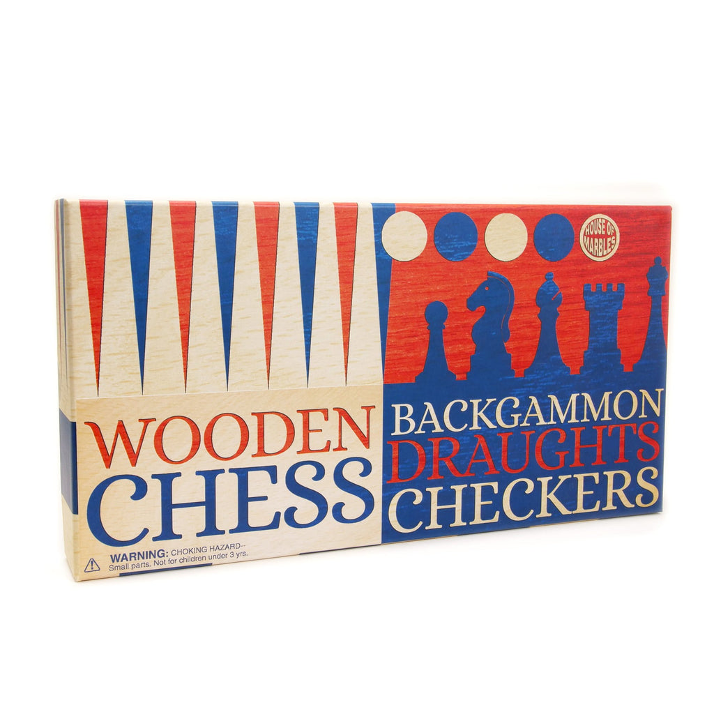 WOOODEN CHESS BACKGAMMON AND DRAUGHTS