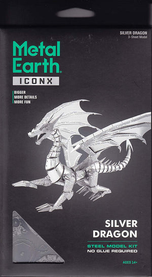 METAL EARTH ICONX SILVER DRAGON