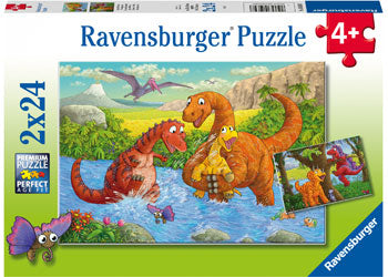 DINOSAURS AT PLAY 2 X 24 PIECE