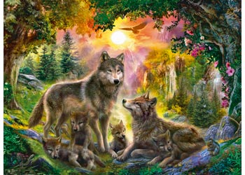 WOLF FAMILY IN SUNSHINE 500 PIECE