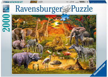GATHERING AT THE WATERHOLE 2000 PIECE