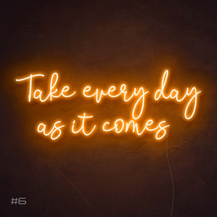 Take every day as it comes Neon Sign