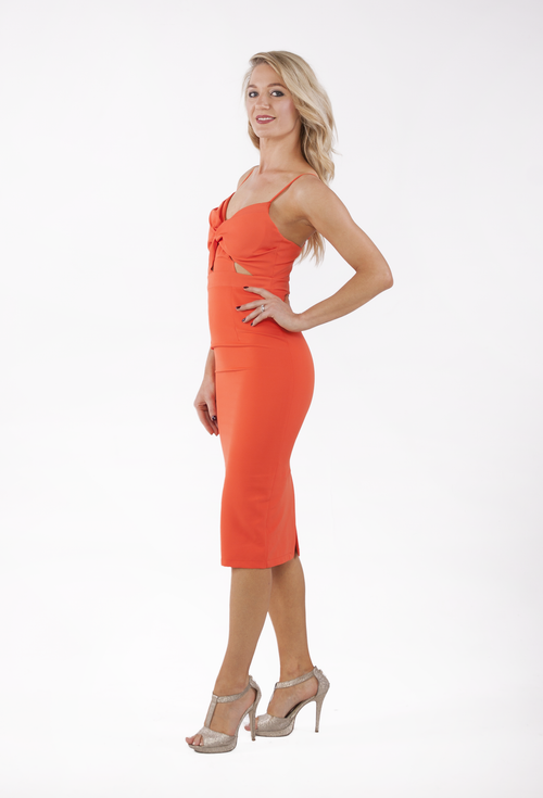 Cut above the Rest Dress- Tangerine - THE OUT LANE