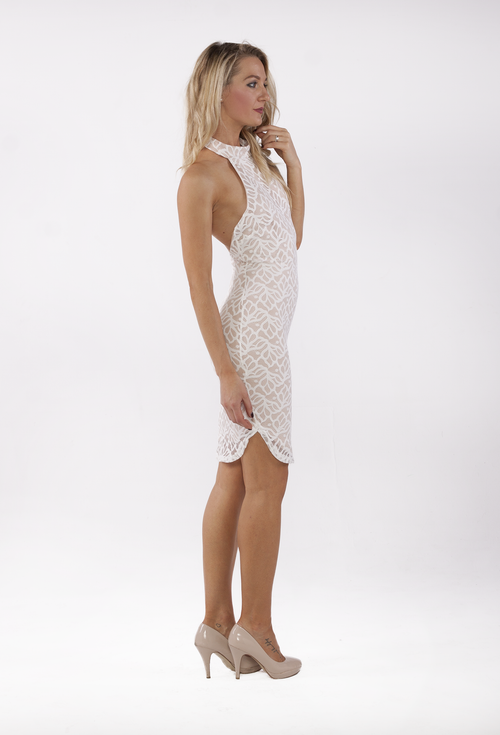 Celine High Neck Lace Dress by Ivory and Chain - THE OUT LANE