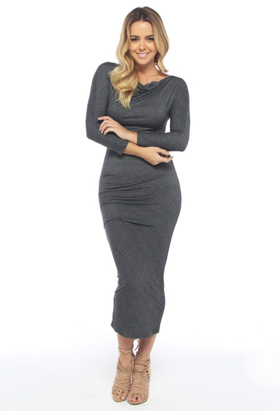 Modal Midi Grey Dress - THE OUT LANE