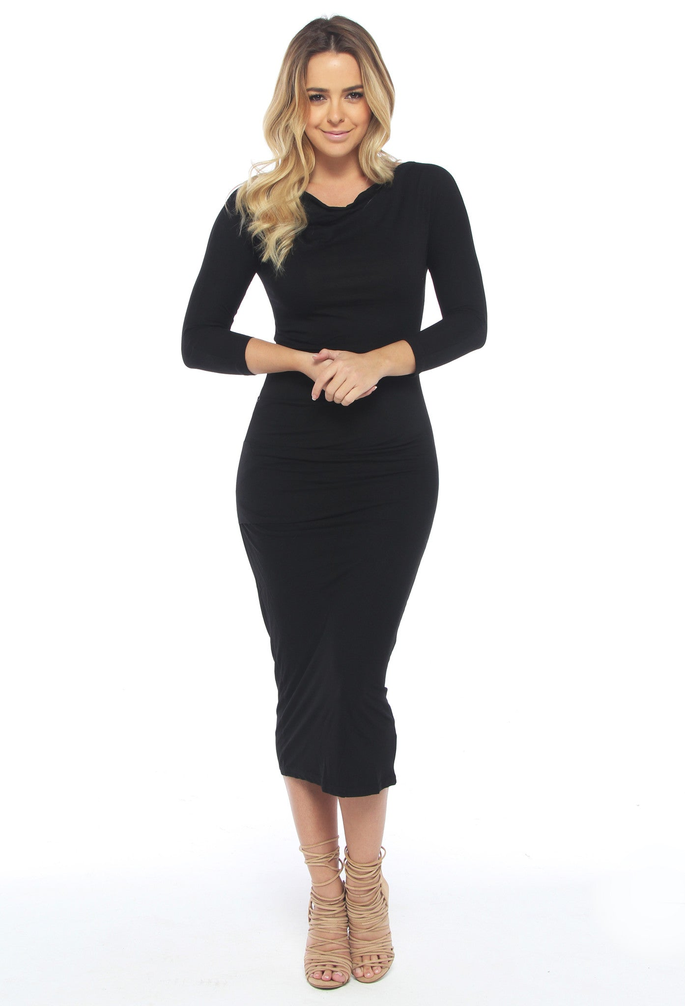 Modal Midi Black Dress - THE OUT LANE