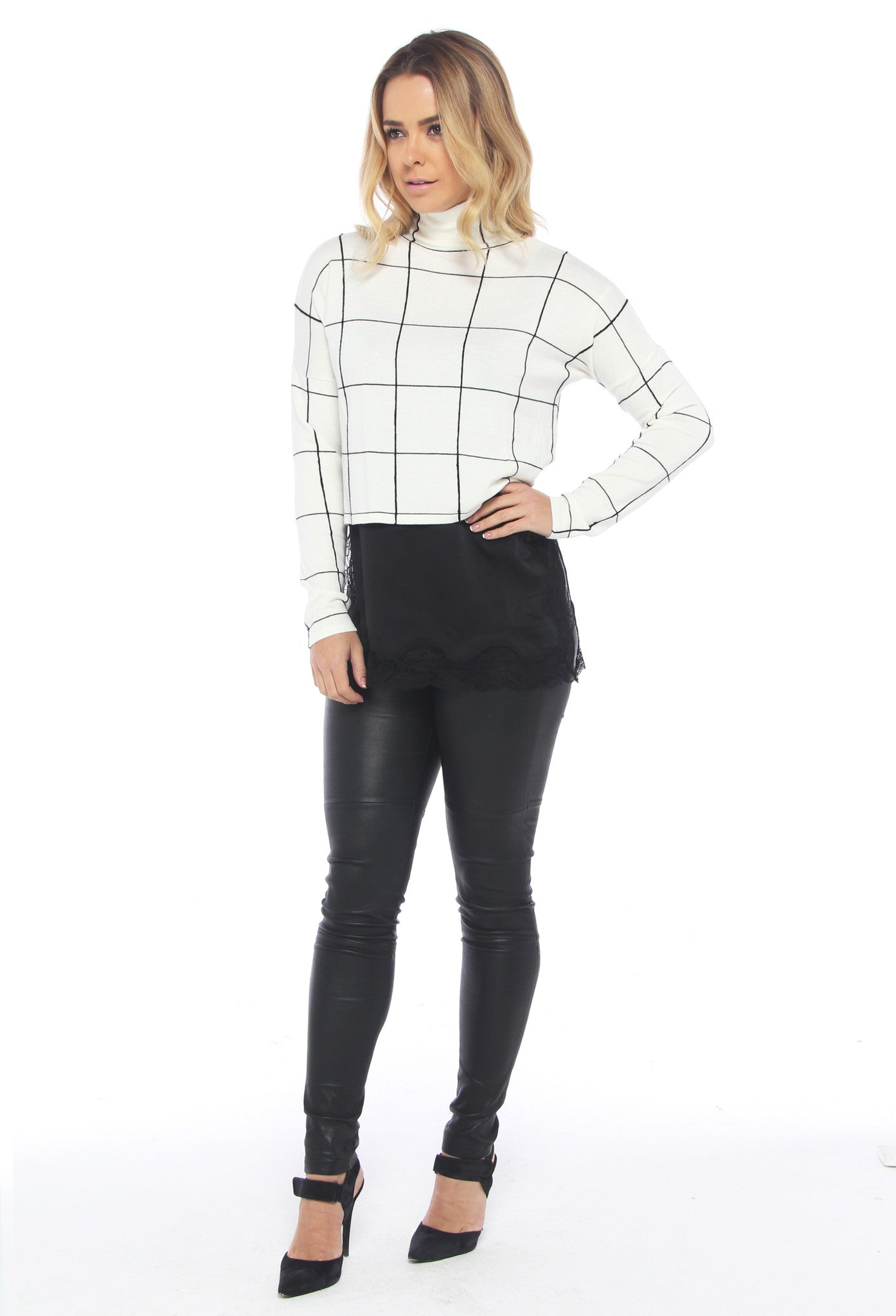 Monochrome Grid Crop Sweater - THE OUT LANE